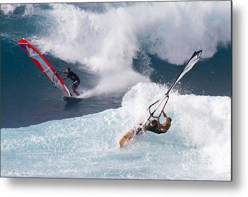 Windsurfer Metal Print featuring the photograph Ho'okipa Windsurfers by Bryan Keil