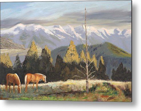 Landscape Metal Print featuring the painting Horses Of The Tetons by Tommy Thompson