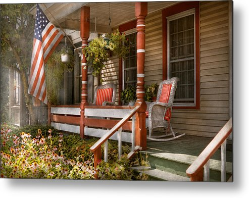 Porch Metal Print featuring the photograph House - Porch - Traditional American by Mike Savad