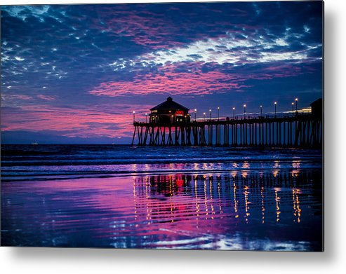 Sunset Metal Print featuring the photograph Huntington Pier - 2 by Jed Smith