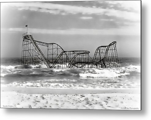 Hurricane Sandy Photographs Metal Print featuring the photograph Hurricane Sandy Jetstar Roller Coaster Black And White by Jessica Cirz