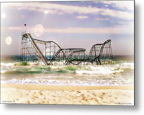 : Hurricane Sandy Photographs Metal Print featuring the photograph Hurricane Sandy Jetstar Roller Coaster Sun Glare by Jessica Cirz