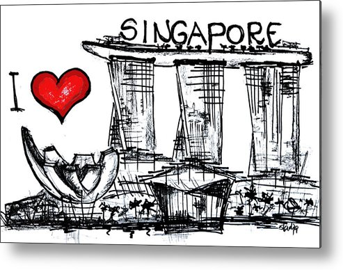 Cities Metal Print featuring the digital art I Love Singapore by Sladjana Lazarevic