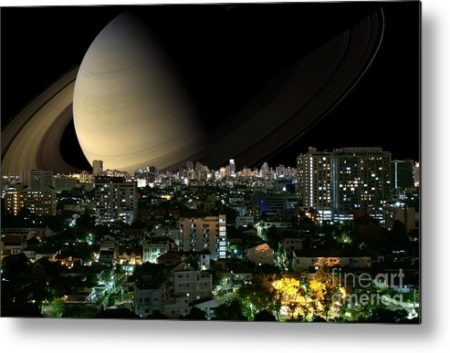 City Metal Print featuring the photograph Iapetus City Saturn by Gregory Smith