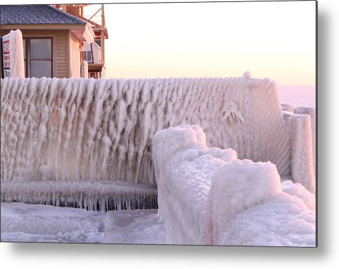 Metal Print featuring the photograph Ice Fence by Kelly Grover