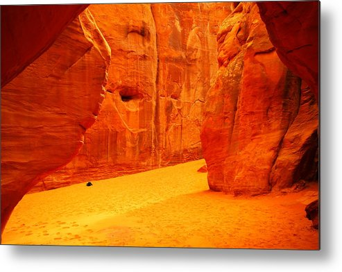 Orange Metal Print featuring the photograph In Orange Chasms by Jeff Swan