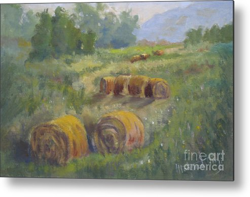 Agricultural Metal Print featuring the painting In The Field by Mohamed Hirji