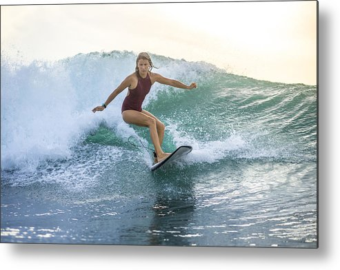 Indonesia Bali Woman Surfing On A Wave Metal Print