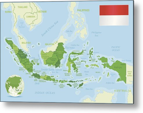 Indonesia Thailand Map.Indonesia Map Green Highly Detailed Metal Print By Pop Jop