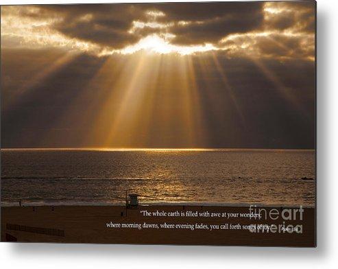 Inspirational Sun Rays Over Calm Ocean Clouds Bible Verse Photograph Metal  Print