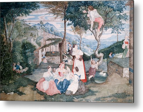 Franz Theobald Horny Metal Print featuring the painting Italian Country Life by Franz Theobald Horny