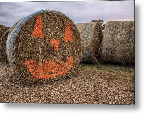 Halloween Metal Print featuring the photograph Jack-o-lantern Hayroll by Jason Politte