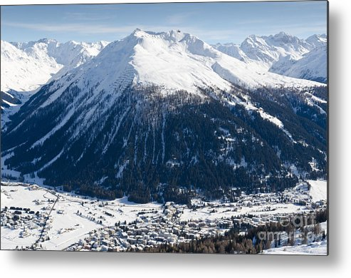 Davos Metal Print featuring the photograph Jakobshorn Davos Mountains And Town Switzerland by Andy Smy