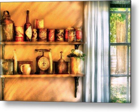 Savad Metal Print featuring the digital art Jars - Kitchen Shelves by Mike Savad
