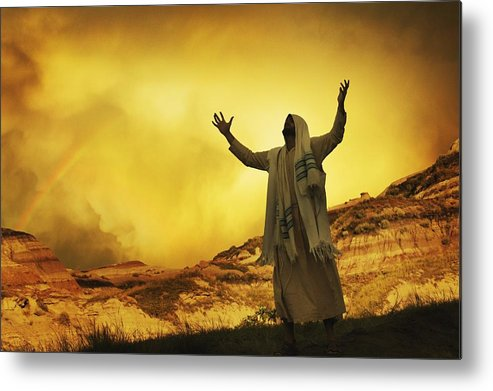 Outdoors Metal Print featuring the photograph Jesus With Arms Stretched Towards Heaven by Don Hammond