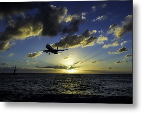 Jetblue Metal Print featuring the photograph jetBlue landing at St. Maarten by David Gleeson