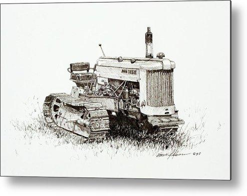 Tractor Metal Print featuring the drawing John Deere Crawler by Scott Alcorn
