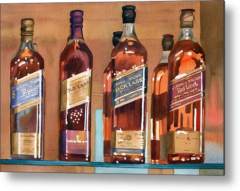 Johnnie Metal Print featuring the painting Johnnie Walker by Mary Helmreich