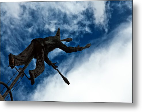 Blue Metal Print featuring the photograph Juggling Statue by Jess Kraft
