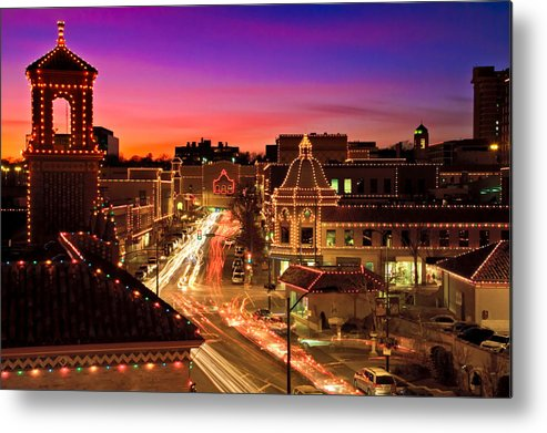 Architecture Metal Print featuring the photograph Kansas City Plaza Christmas Lights Skyline by Tommy Brison