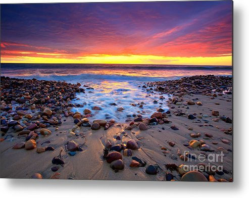 Sunset Pebbles Stones Beach Seascape Seascapes Karrara Hallett Cove Adelaide South Australia Australian Metal Print featuring the photograph Karrara Sunset by Bill Robinson