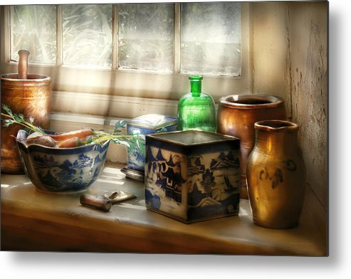 Chef Metal Print featuring the photograph Kitchen - In A Kitchen Window by Mike Savad