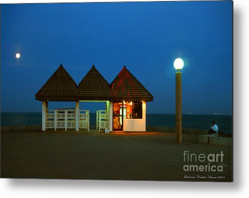 Pier Metal Print featuring the photograph Kuwaiti Pier Snack Bar At Dusk by Lawrence Costales