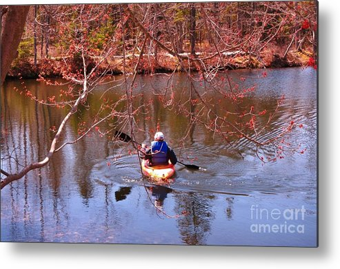 Kyaking On A Lake In Spring Metal Print featuring the photograph Kyaking On A Lake In Spring by John Malone
