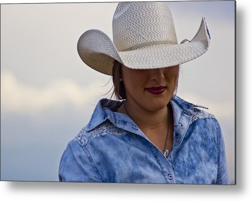Cowgirl Metal Print featuring the photograph Lady In Blue by Patrick Moore