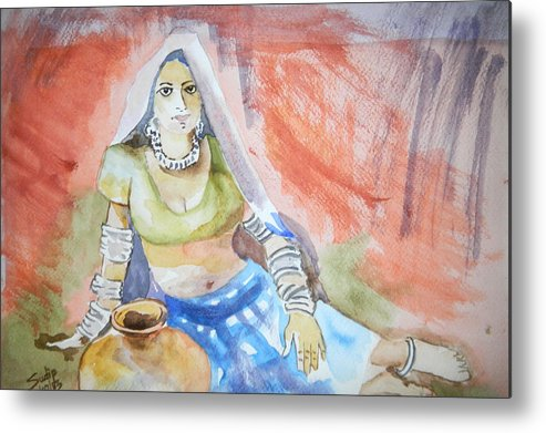 Lady Metal Print featuring the painting Lady With The Earthen Pot by Sudip Mitra
