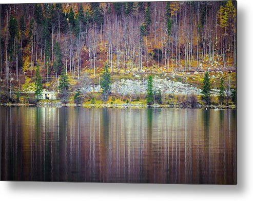Austria Water Lake Reflection Trees Metal Print featuring the photograph Lake Reflections by Kim Kelley