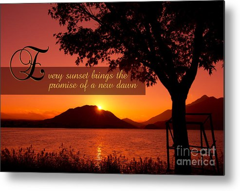 Every Sunset Brings The Promise Of A New Dawn Metal Print featuring the photograph Lake Sunset With Promise Of A New Dawn by Beverly Claire Kaiya