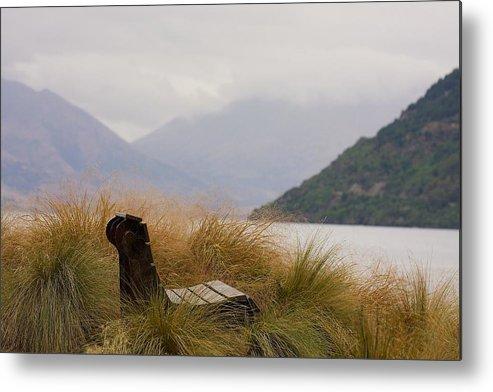 New Zealand Metal Print featuring the photograph Lake Wakatipu Bench by Stuart Litoff