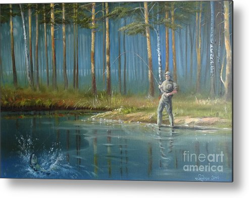 Fisherman Metal Print featuring the painting Lakeshore by Ahto Laadoga