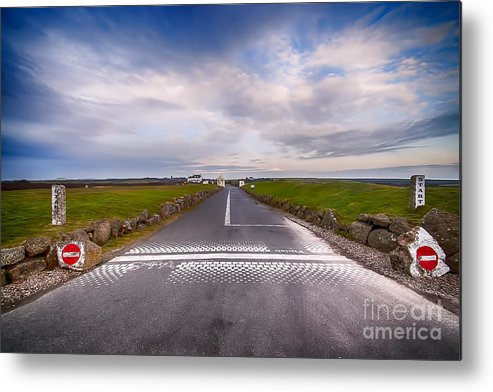 Lands End Cornwall Metal Print featuring the photograph Lands End Start And Finish Line by Chris Thaxter