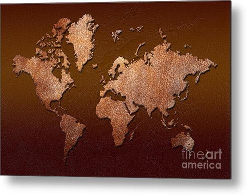 world Map Metal Print featuring the digital art Leather World Map by Zaira Dzhaubaeva