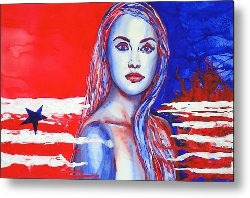 America's Freedom Metal Print featuring the painting Liberty American Girl by Anna Ruzsan