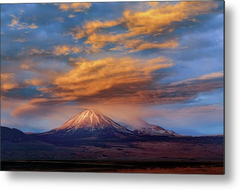 Antofagasta Region Metal Print featuring the photograph Licancabur And Juriques Volcanoes by Babak Tafreshi