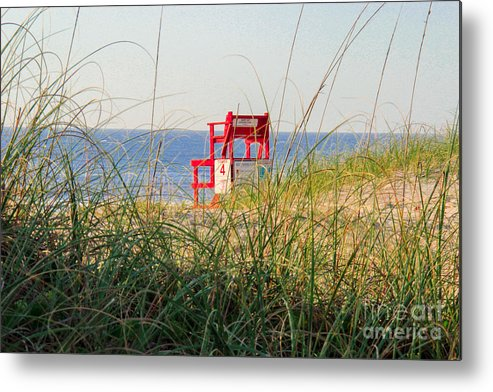 Lifeguard Metal Print featuring the photograph Lifeguard Chair by Kathy Szabo