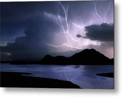 Oklahoma Metal Print featuring the photograph Lightning Over Quartz Mountains - Oklahoma by Jason Politte