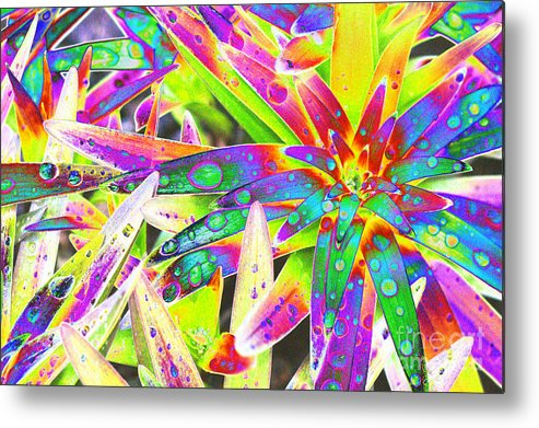 Lily Metal Print featuring the digital art Lily Leaves Raindrops by Carol Lynch