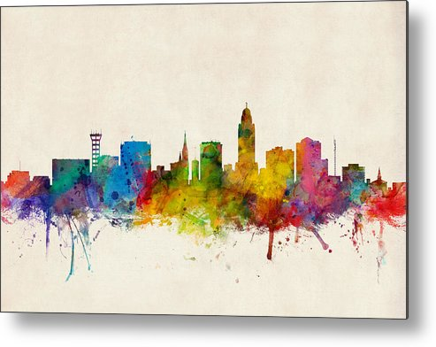 City Metal Print featuring the digital art Lincoln Nebraska Skyline by Michael Tompsett