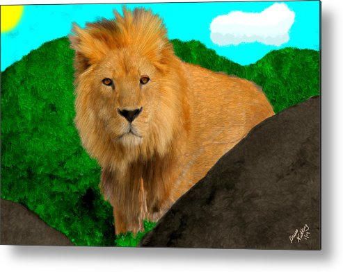 Lion Metal Print featuring the painting Lion Prowling by Bruce Nutting