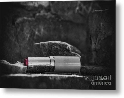 Lipstick Metal Print featuring the photograph Lipstick - Bw by Kathleen K Parker