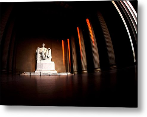 Lincoln Memorial Metal Print featuring the photograph Live By The Light by Mitch Cat