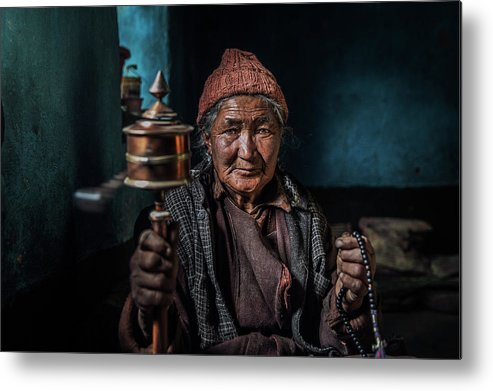 Portrait Metal Print featuring the photograph Live Peacefully by Fathi Aldarwish