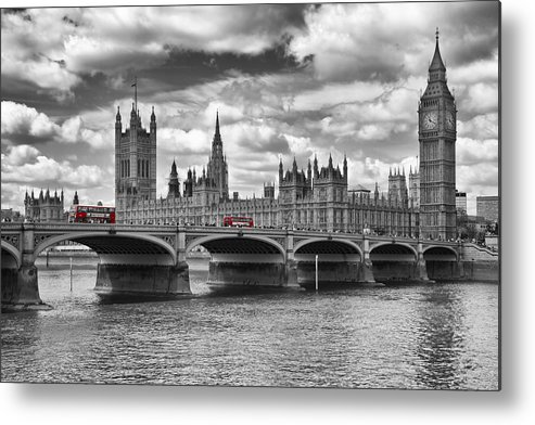 British Metal Print featuring the photograph London - Houses Of Parliament And Red Buses by Melanie Viola