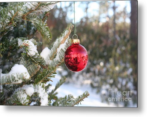 Christmas Metal Print featuring the photograph Lone Red Christmas Ball by Deborah A Andreas