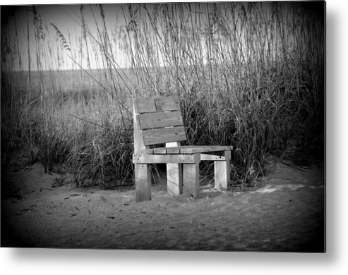 Landscape Metal Print featuring the photograph Lonely Beach Bench by Diana Berkofsky
