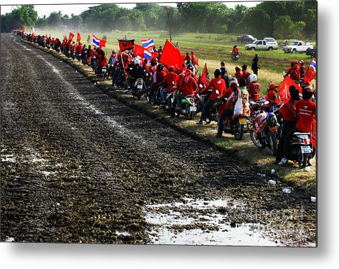 Motorcycle Metal Print featuring the photograph Long Journey Of The Red Rally by Rames Ratyantarakor